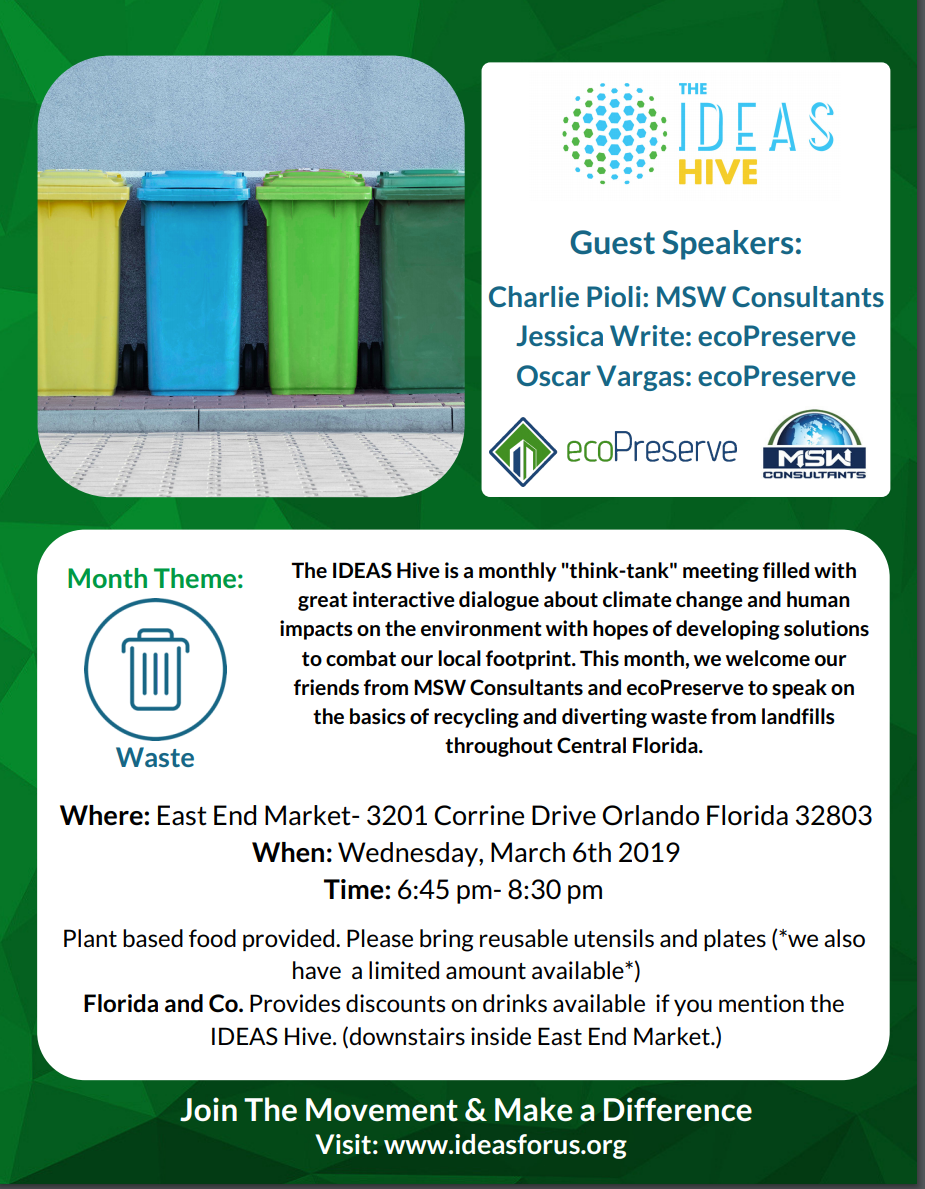 Hive Meeting 3/6: How an Organization Can Reduce Their Waste & Save Money In The Process